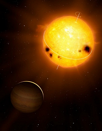 Artistic rendering of HD 52265 and its orbiting Jupiter-like planet. Image courtesy of MPI for Solar System Research/Mark A. Garlick (www.markgarlick.com)
